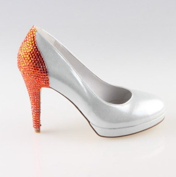 Bright white shoes with sparkle orange rhinestones party shoes, wedding shoes