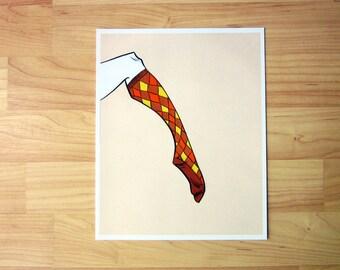Cozy Argyle Socks Drawing Art Print - 8 x 10