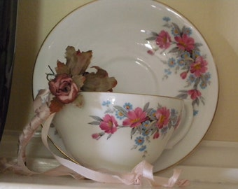 Vintage Clarence England  Tea Cup and Saucer with Darling Pink and Blue Floral Bouquets with Hints of Gray