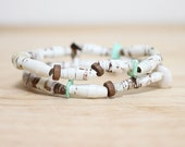 Paper Bead Jewelry Made With Recycled Book Pages, Brown and Teal Bracelet Set, Earthy and Organic Bracelet, Gift For Book Lover