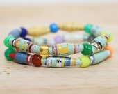 Sesame Street Recycled Paper Bead Jewelry Made From The Book Pages of ABC's 123's, Mom Gift, Librarian Gift, Teacher Gift