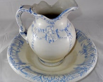 Vintage Pottery Pitcher and Wash Bowl Vintage Ewer and Bowl