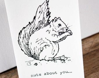 Squirrel 'nuts about you' card - Gocco screenprinted