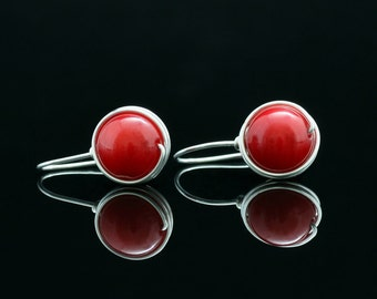 Sterling silver coral drop earrings  Bridesmaids gifts Free US Shipping handmade anni designs