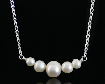 Pearl minimalist necklace Bridesmaid gifts Free US Shipping handmade Anni designs