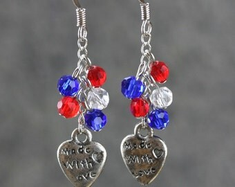 Patriotic red blue white danging chandelier earrings Bridesmaids gifts Free US Shipping handmade Anni Designs