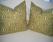 Decorative Pillow Covers - Mustard yellow and white Moroccan Tiles - Same on both sides - Zipper bottom