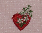 Vintage Applique Embroidery Red Valentine Heart with Flowers- Sew On Applique
