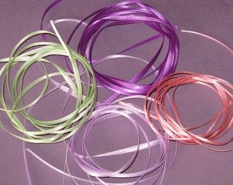 Satin Ribbon Purple, Lavender, Pink, Green NEW 8 yards - Vintage 1980's Offray Polyester Satin Ribbon