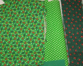Vintage Green Calico Cotton Fabric Scraps  1970's Material  Doll Clothes, Quilting and Crafts