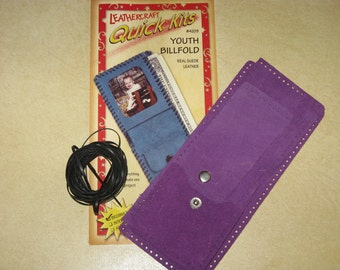 Leathercraft Quick Kit Purple Suede Leather Wallet Kit Beginner Level Handmade The Leather factory