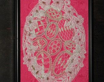 Vintage Lace Egg Doilie Picture on Pink Moire Silk Under Glass in Frame