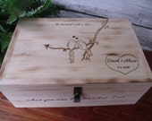 Card Box or Wine Box for Rustic Weddings It Started with a Kiss with Love Birds