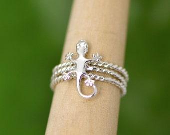 Gecko Stacker Ring Set, Stacker Rings, Lizard Ring, Gecko Jewelry, Silver Lizard Jewelry, Silver Gecko Ring