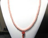 Beaded Pink Jade Red Rose Necklace