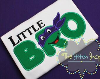 Little Bro Ninja Turtle Themed Applique Shirt