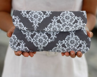 White and Grey Wedding Clutch, Lace prints clutch purse