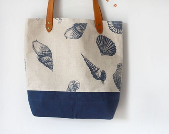 Beach Bag, Linen Tote Bag, Navy Blue Seashell Linen and Leather Bag, Large Tote