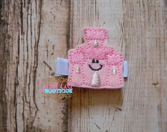 Girls Beach Hair Accessories - Felt Hair Clips -Embroidered Boutique Felt Smile Summer Sand Castle Hair Clippie-No Slip Grip