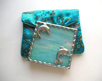 Stained Glass Purse Mirror|Pocket Mirror|Dolphins|Turquoise|Iridescent|Turquoise Pouch|Bath and Beauty|Makeup Tool|Handcrafted|Made in USA