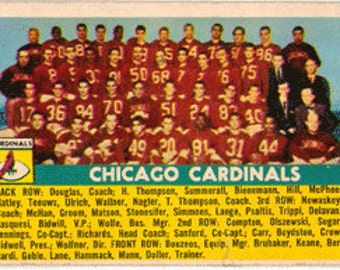 1956 Topps Football Card, Chicago Cardinals Team, Charley Trippi, card 22
