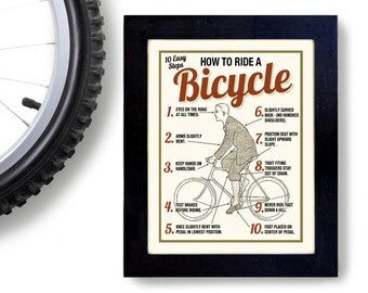 Bicycle Art Print Cycling Art How to Ride a Bike Vintage Bicycle Art Poster