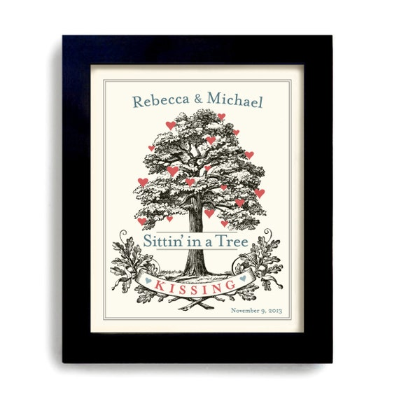 Personalized Wedding Decor - Unique Engagement Gift - Bridal Shower - for Couples - Tree Art Print