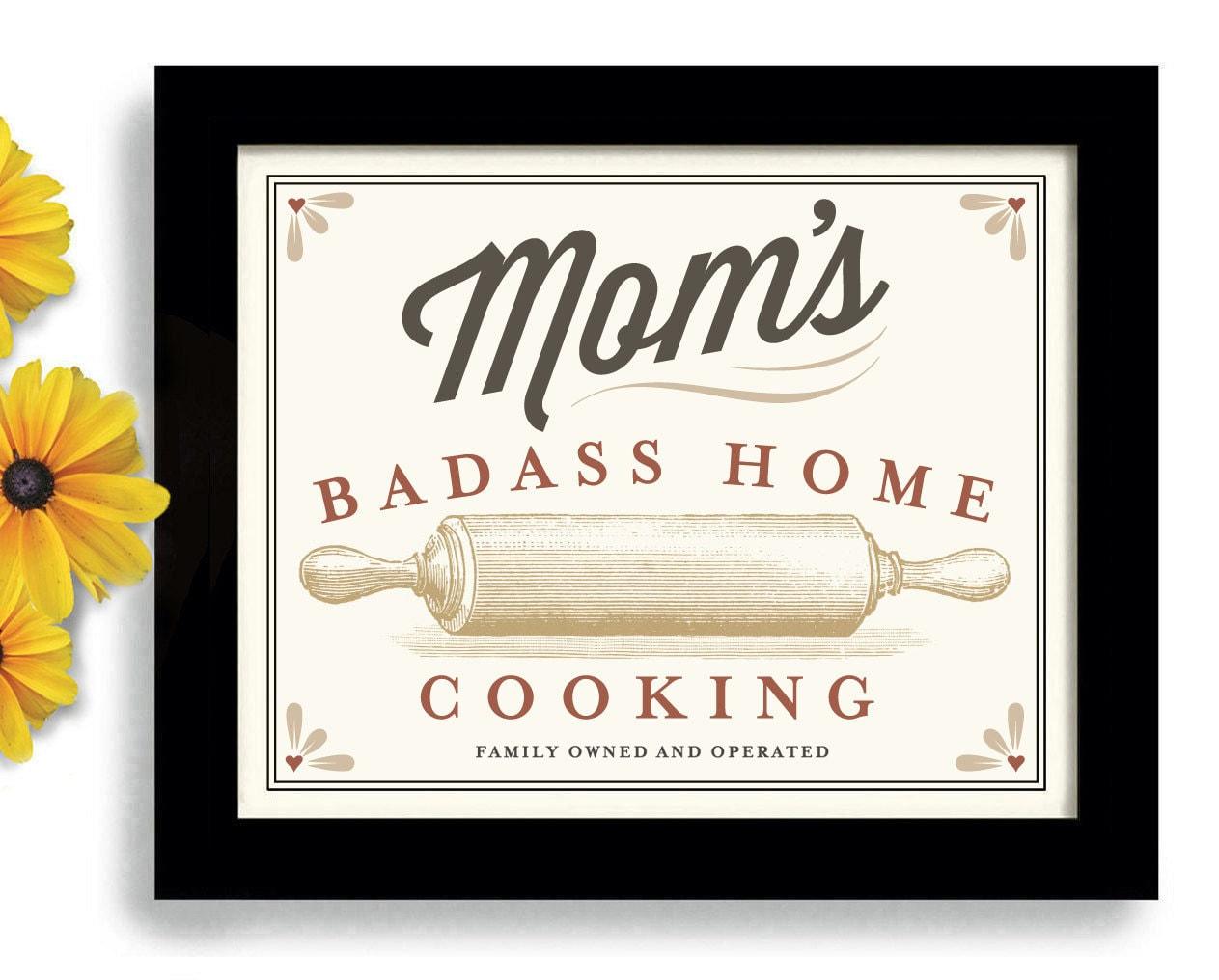 Kitchen Artwork Mom Birthday Gift Kitchen Artwork Rolling Pin Best Cook Badass