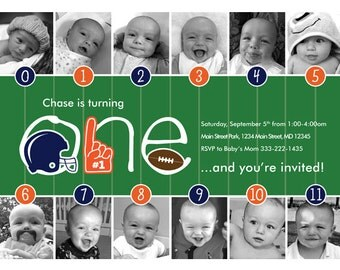 Football Timeline First Birthday Invitation – Your Choose of Team Colors
