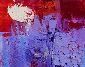 Original MODERN Abstract Palette Knife Painting  Purple Red Textured 6x6 Cradled INFRINGEMENT