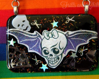 Bat Babe Resin Necklace