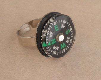 ZOMBIE SURVIVAL KIT Silver Plated Compass Ring For The Walking Dead Zombie Apocalypse - Zombie Jewellery - Map Reading - Hiking Ring