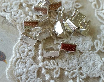 10 x 6 mm Silver Plated Fasteners Clasps (.msc)