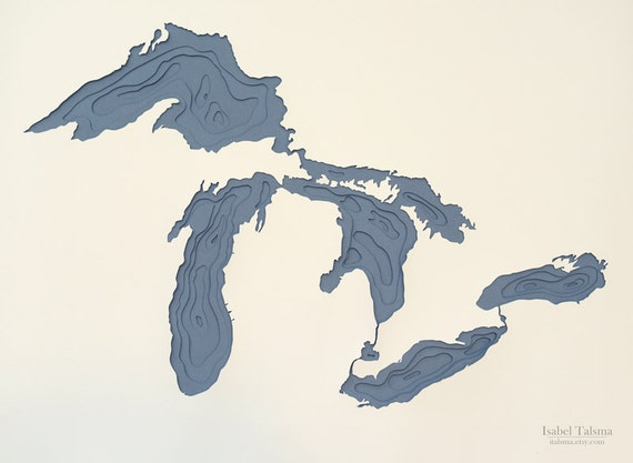 Great Lakes Hand-cut Topographical Paper Cut Map (9x12 inches)