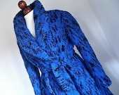 ROBERTA Di CAMERINO . Amazing Wool Knit Coat . Black And Blue . large L Xl 1x 70s Italy