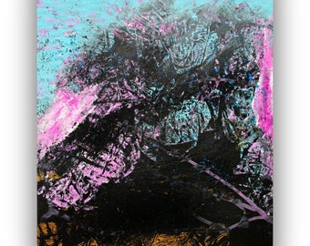 Modern Abstract Painting   Original abstract Art on canvas   Pink and black decor   16x20 inch Canvas   Art by Heroux   Contemporary Art