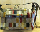 Multi-Colored Messenger bagsYOUtote - tan background with burgundy, blue, green and black