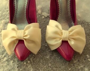 Wedding Shoe Clips Bridal Shoe Clips, Shoe Clips for wedding shoes, bridal shoes, Satin Bow SHoe Clips, wedding accessories,