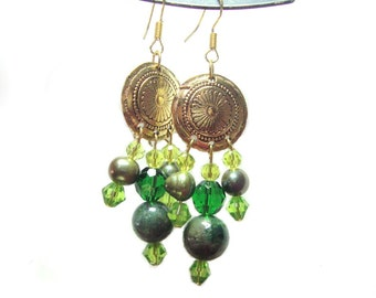 Mongolian beaded french hook earrings