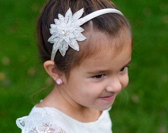 Star motif white or ivory flower girl's headband for first communion and flower girl