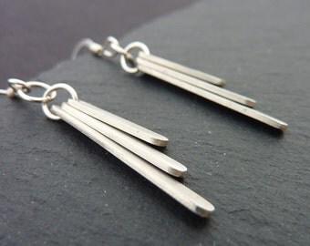 Sterling Silver Triple Bar Modern Silver Dangle Earrings, Free UK Postage