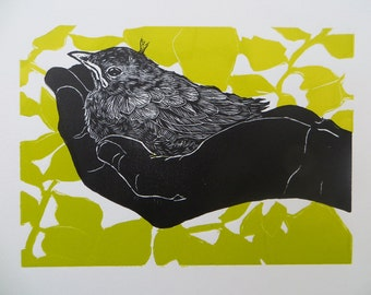 Woodblock print: Holding