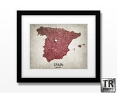 Spain Map - Home Is Where The Heart Is Love Map - Original Personalized Map Art Print Available in Multiple Size and Color Options
