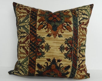 Southwestern Decorative Pillow Cover, Throw Pillow, Cushion Pillow, Rust, Green, Tan, 20 x 20, Southwest