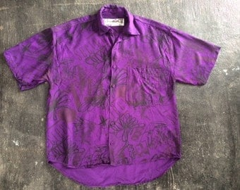 Jazzy 80s Purple Rayon Button-Down