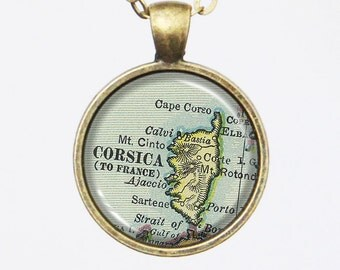 Customizable Map Necklace - Corsica Island, French -Vintage Map Pendant Series