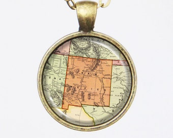 New Mexico State Map Necklace - Vintage Map of New Mexico-Vintage Map Series