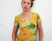 Vintage 90s Elastic Semi Sheer Tropical Print T Shirt Stretchy Mesh Grunge Top