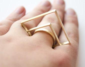 Geo Deco Ring - Brass Geometric Cocktail Ring