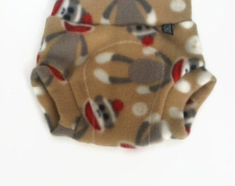 SMALL fleece Diaper Cover / Soaker: sock monkey